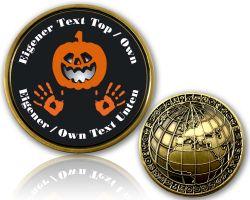 Halloween Pumpkin Geocoin mit deinem Text