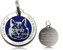 Cacher's Cat Geocoin Poliertes Silber BLAU