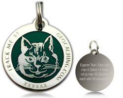 Cacher's Cat Geocoin Poliertes Silber GR�N