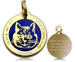 Cacher's Cat Geocoin Poliertes Gold BLAU