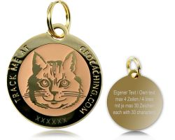 Cacher's Cat Geocoin Poliertes Gold GLOW