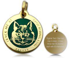 Cacher's Cat Geocoin Poliertes Gold GR�N
