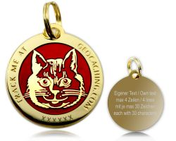 Cacher's Cat Geocoin Poliertes Gold ROT