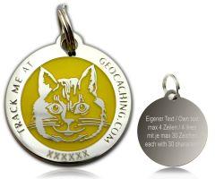 Cacher's Cat Geocoin Poliertes Silber GELB
