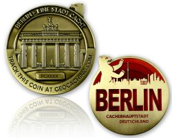 Berlin Geocoin Antique Gold - RED