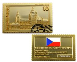 Geocacher's World Geocoin -CZECH REPUBLIC- Satin Gold XLE 75