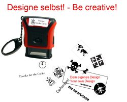 Geocaching Stamp with your Design - PrintyCarabiner 26 x 9