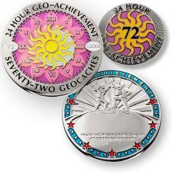 24 Stunden 72 Geocaches Geo Achievement Geocoin inkl PIN