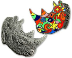 Rhinoceros Geocoin Antik Nickel