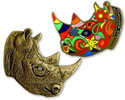 Rhinoceros Geocoin Antik Bronze