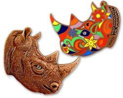 Rhinoceros Geocoin Antik Kupfer