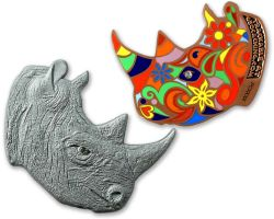 Rhinoceros Geocoin Two Tone (Antik Kupfer / Silber)