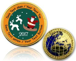 Christmas 2017 - Reindeer Geocoin with your Text