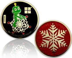 Merry Christmas - Signal Geocoin Polished Gold CHERRY