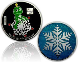 Merry Christmas - Signal Geocoin Polished Silver PETROL