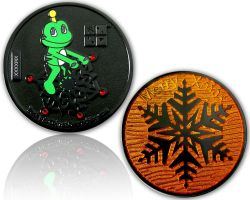 Merry Christmas - Signal Geocoin Black Nickel ORANGE LE 100
