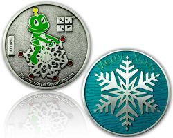 Merry Christmas - Signal Geocoin Antique Silver MINT XLE 75
