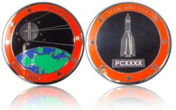 Sputnik Geocoin Poliertes Silber