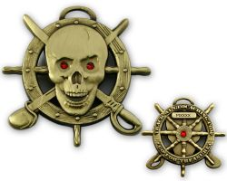 Pirate Skull Geocoin Antique Gold