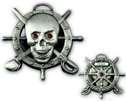Pirate Skull Geocoin Antik Silber LE 125