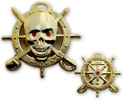 Pirate Skull Geocoin Poliertes Gold LE 125