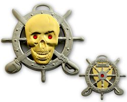 Pirate Skull Geocoin Two Tone Silber/Gold