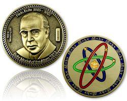 Atommodell Niels Bohr Geocoin Antik Gold