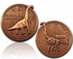 Brachiosaurus Geocoin Antik Kupfer XLE 75