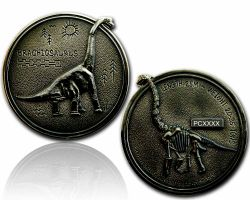 Brachiosaurus Geocoin Black Nickel XLE 75