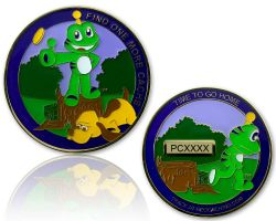 Heads and Tails Geocoin Poliertes Gold