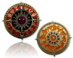 Zodiac Compass Geocoin Antik Gold