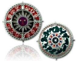 Zodiac Compass Geocoin Antik Silber