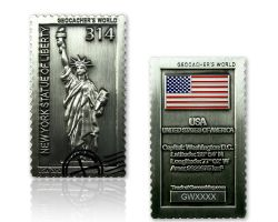 Geocacher's World Geocoin -USA- Antik Silber