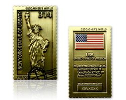 Geocacher's World Geocoin -USA- Antik Gold