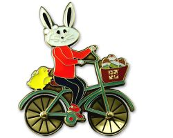 Easter Bunny Bicycle Geocoin Antique Gold (rotateable wheels)
