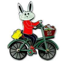 Easter Bunny Bicycle Geocoin Antique Silver (rotateable wheels)