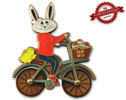 Easter Bunny Bicycle Geocoin Antique Copper XLE (rotateable whee