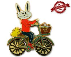 Easter Bunny Bicycle Geocoin Pol. Gold XLE (rotateable wheels)