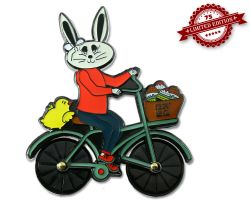 Easter Bunny Bicycle Geocoin Black Nickel XLE (rotateable wheels