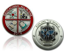 Geocaching - All In One Geocoin 2014 Antik Silber