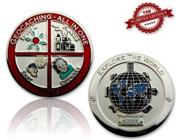 Geocaching - All In One Geocoin 2014 Pol. Silber LE 150