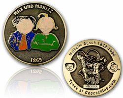 Max & Moritz (Wilhelm Busch) Geocoin Antik Gold