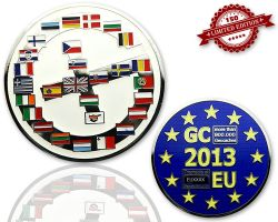 Geocaching Europe Geocoin Polished Silver LE