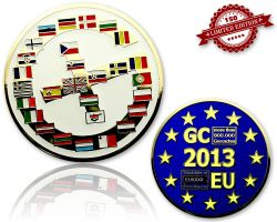 Geocaching Europe Geocoin Poliertes Gold LE