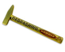 Geocaching Hammer Geocoin Satin Gold
