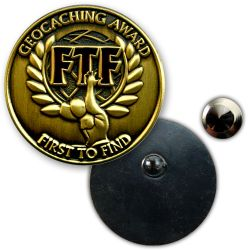 Geocaching Award FTF Anstecker Gold