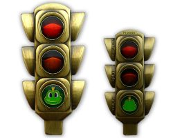 100 Years Traffic Light Geocoin Antique Gold RE