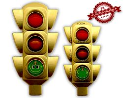 100 Years Traffic Light Geocoin Satin Gold XLE 75