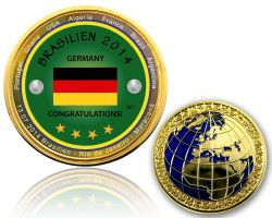 2014 Brazil - World Champion Geocoin Polished Gold