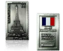 Geocacher's World Geocoin -FRANCE- Antik Silber